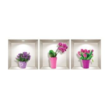Set 3 autocolante 3D pentru perete Ambiance Tulips, Orchids and Lilacs bonami.ro