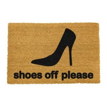 Covoraș intrare din fibre de cocos Artsy Doormats Shoes Off Please, 40 x 60 cm poza bonami.ro