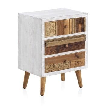 Noptieră cu 3 sertare Geese Rustico Puro, 48,5 cm x 65 cm, alb-naturla