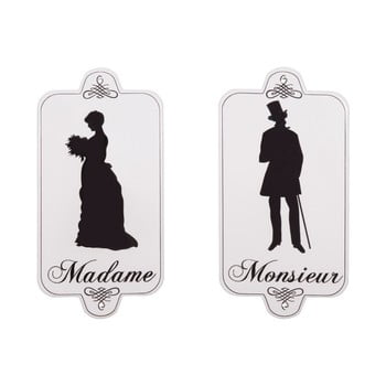 Set 2 plăcuțe pentru ușă WC Antic Line Madame Monsieur bonami.ro