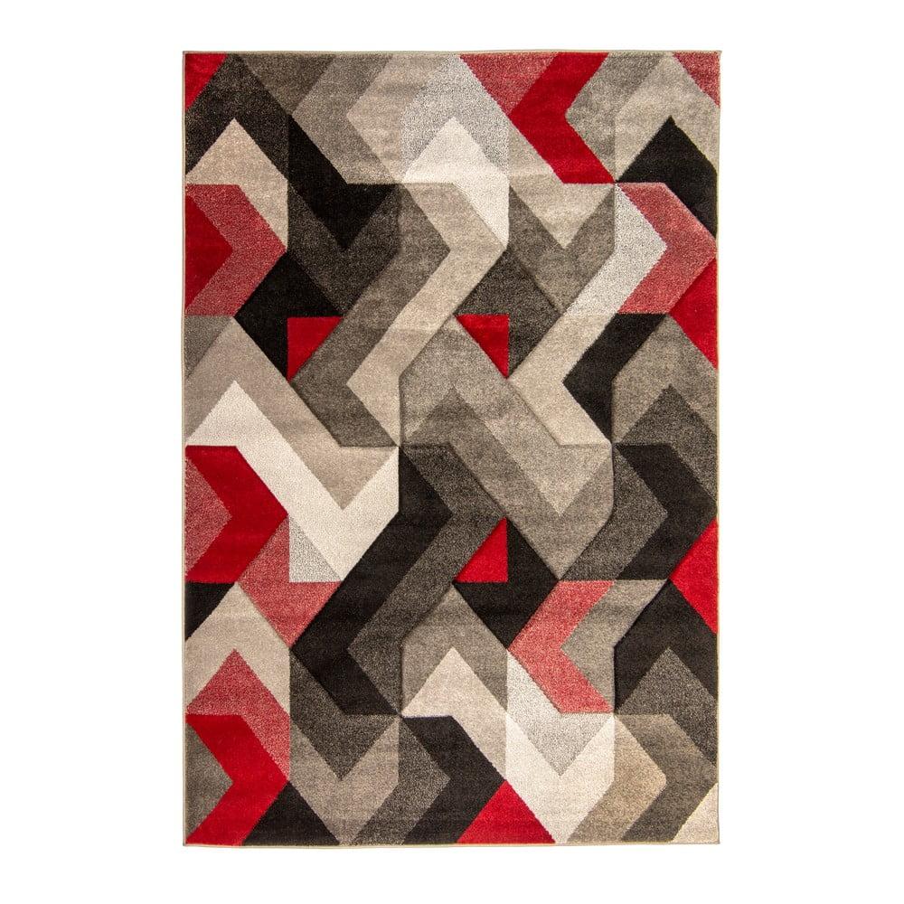 Covor Flair Rugs Aurora, 200 x 290 cm, roșu - gri