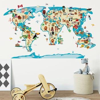 Autocolant de perete Ambiance World Map Ethnic Tour poza bonami.ro