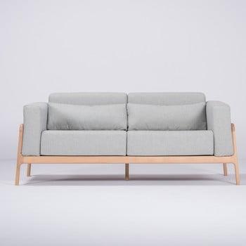 Canapea cu structură din lemn de stejar Gazzda Fawn, 180 cm, albastru - gri bonami.ro