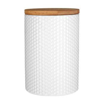 Recipient din dolomită și capac din bambus Premier Housewares, ⌀ 10 cm, alb bonami.ro