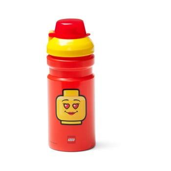 Sticlă pentru apă cu capac galben LEGO® Iconic, 390 ml, roşu poza bonami.ro