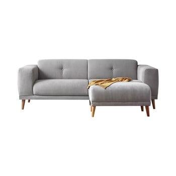 Canapea cu taburet Bobochic Paris Luna, gri bonami.ro