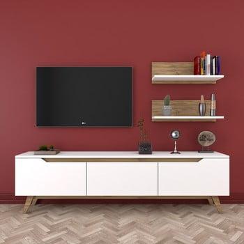 Set comodă TV și 2 etajere de perete Wren Nut, alb-natural poza bonami.ro