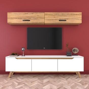 Set comodă Tv și 2 dulapuri de perete Wren Natural, alb-natural imagine
