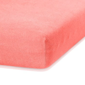 Cearceaf elastic AmeliaHome Ruby, 200 x 100-120 cm, roz corai poza bonami.ro