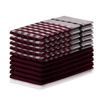Set 10 prosoape de bucătărie din bumbac DecoKing Louie, 50 x 70 cm, roșu și negru bonami.ro