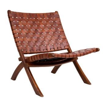 Scaun pliabil din piele și lemn de tec House Nordic Montana, maro bonami.ro