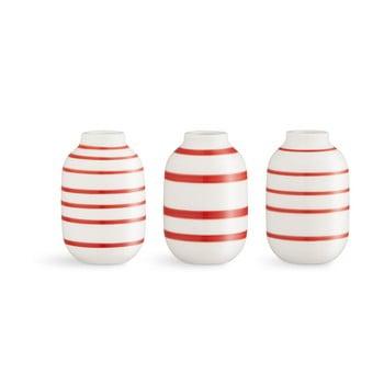 Set 3 vaze din porțelan Kähler Design Omaggio, alb-roșu poza bonami.ro