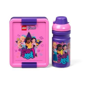 Set sticlă pentru apă și cutie pentru gustări LEGO® Friends Girls Rock poza bonami.ro