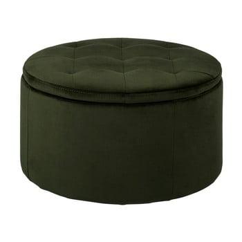 Taburet cu spațiu de depozitare Actona Vic, ⌀ 60 cm, verde închis imagine