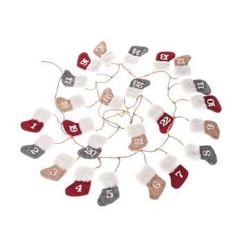 Calendar advent textil suspendat Dakls, lungime 260 cm, formă șosetă bonami.ro