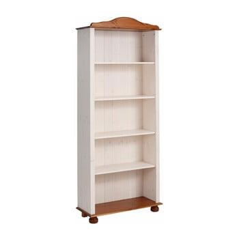 Bibliotecă din lemn de pin Støraa Ella, alb-maro poza bonami.ro