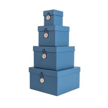 Set 4 cutii de depozitare PT LIVING Uniform, albastru bonami.ro