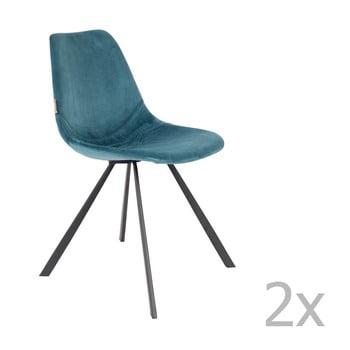 Set 2 scaune cu tapițerie catifelată Dutchbone Franky, albastru petrol