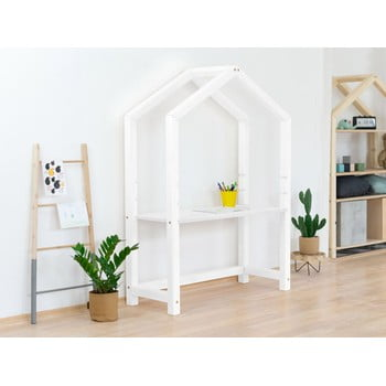 Birou din lemn în formă de casă Benlemi Stolly,97x39x133cm, alb