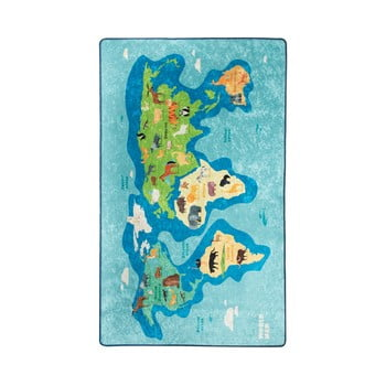 Covor antiderapant pentru copii Chilai Map,200x290cm, albastru imagine