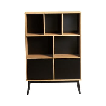 Bibliotecă cu uși negre din lemn de pin Marckeric Estela, înălțime 141,5 cm, maro bonami.ro