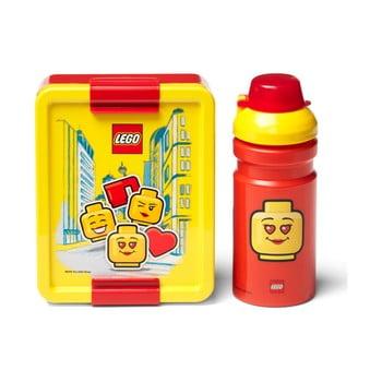 Set caserolă pentru gustări și sticlă LEGO® Iconic, roșu-galben poza bonami.ro