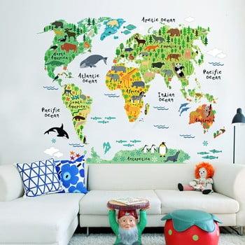 Autocolant de perete pentru camera copiilor Ambiance World Map, 73 x 95 cm poza bonami.ro