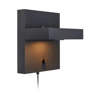 Aplică perete cu poliță și stație de încărcare USB Markslöjd Kubik, negru imagine