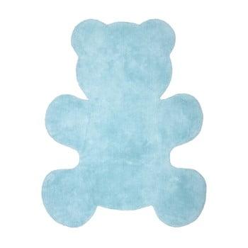 Covor lucrat manual pentru copii Nattiot Little Teddy, 80 x 100 cm, albastru poza bonami.ro