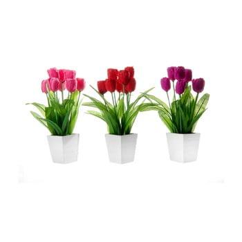 Set 3 flori artificiale în ghiveci Unimasa Tulip poza bonami.ro