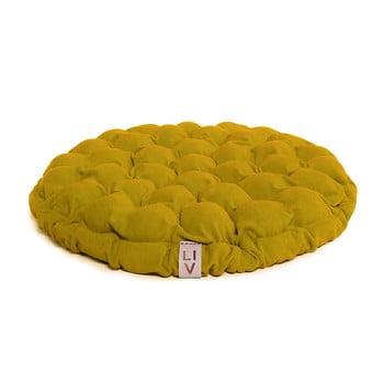 Pernă relaxare cu bile de masaj Linda Vrňáková Bloom, Ø 65 cm, galben imagine