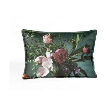 Pernă husă din catifea cu modele florale Velvet Atelier Bodegon,50x35cm, verde poza bonami.ro