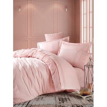 Lenjerie de pat din bumbac cu cearșaf Cotton Box Elba, 200 x 220 cm, roz pudră bonami.ro