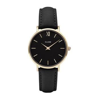 Ceas damă, curea din piele Cluse Minuit, negru - auriu bonami.ro