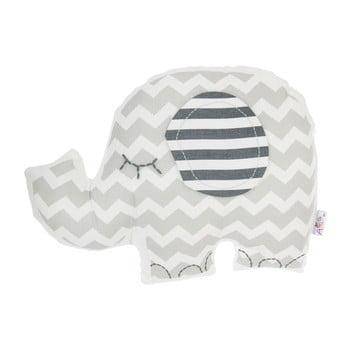 Pernă din amestec de bumbac pentru copii Mike&Co.NEWYORK Pillow Toy Elephant, 34 x 24 cm, gri poza bonami.ro