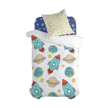 Lenjerie de pat din bumbac pentru copii, pentru pat de o persoană Mr. Fox Space Rocket,140x200cm poza bonami.ro