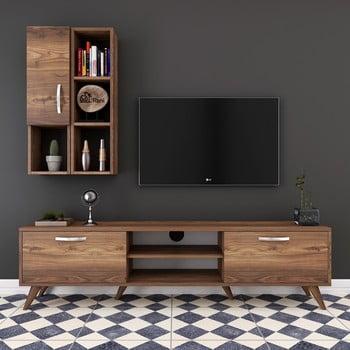 Set comodă TV cu dulap și rafturi de perete Wren Nut, natural bonami.ro