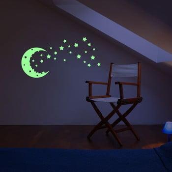 Autocolant fosforescent de perete Fanastick Moon And The Stars bonami.ro