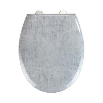 Capac WC cu închidere lentă Wenko Easy Concrete, 44,5 x 37 cm poza bonami.ro