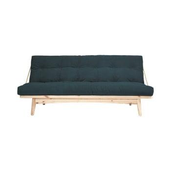Canapea extensibilă, tapițerie reiat Karup Design Folk Raw/Pale Blue, verde închis imagine