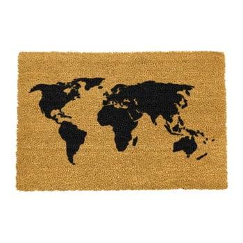 Covoraș intrare din fibre de cocos Artsy Doormats World Map, 40 x 60 cm poza bonami.ro