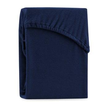 Cearșaf elastic pentru pat dublu AmeliaHome Ruby Siesta, 220-240 x 220 cm, albastru închis bonami.ro