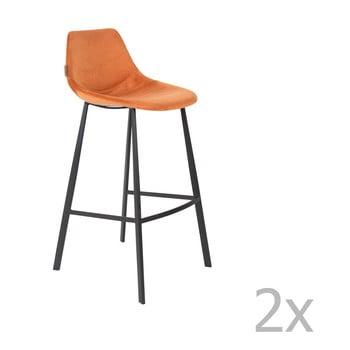 Set 2 scaune bar cu tapițerie catifelată Dutchbone, înălțime 106 cm, portocaliu imagine