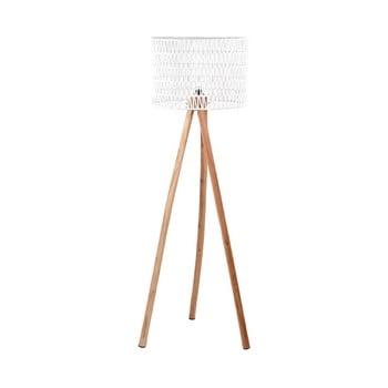 Lampadar din lemn de mango LABEL51 Stripe, alb poza bonami.ro