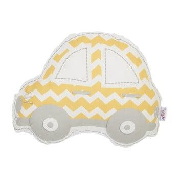 Pernă din amestec de bumbac pentru copii Mike&Co.NEWYORK Pillow Toy Car, 32 x 25 cm, galben - gri bonami.ro