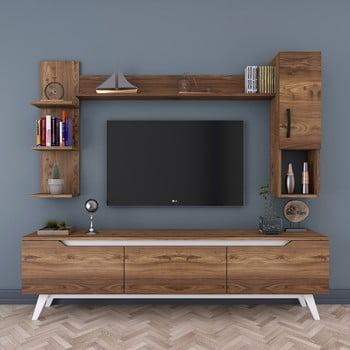 Set comodă TV cu rafturi și dulap de perete Wren, natural poza bonami.ro