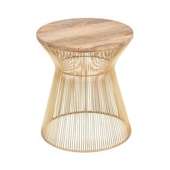 Masă auxiliară cu blat din lemn WOOX LIVING Chloe, ⌀ 40 cm, auriu poza bonami.ro