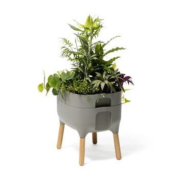 Vas pentru cultivarea plantelor Plastia Low Urbalive, înălțime 48 cm, gri bonami.ro