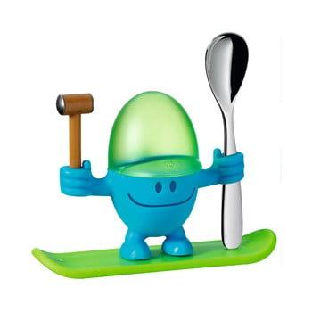 Suport pentru ou cu lingură WMF Cromargan® Mc Egg, verde - albastru poza bonami.ro