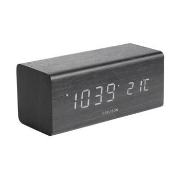 Ceas alarmă cu aspect de lemn Karlsson Cube, 16 x 7,2 cm, negru bonami.ro